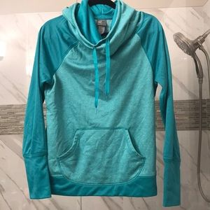 Teal Green pullover hooded sweater dryfit